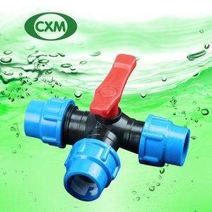 PP compression tee ball valve